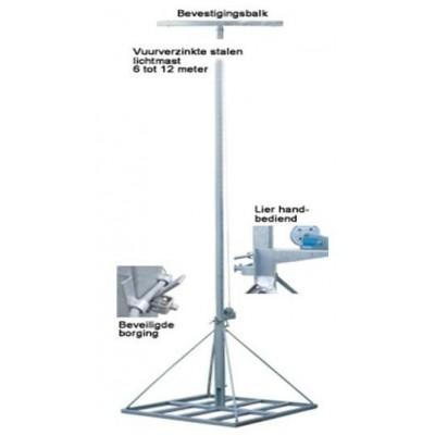 Lichtmast gegalvaniseerd staal 6-12 meter uitschuifbaar met grondframe